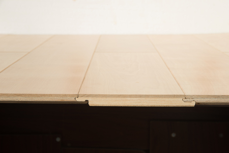 Wooden laminate flooring boards stacking