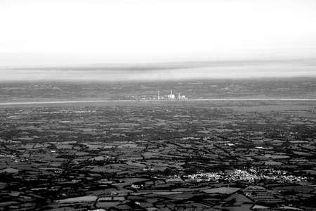 aerial view atlantic ocean, marsh and loire river
