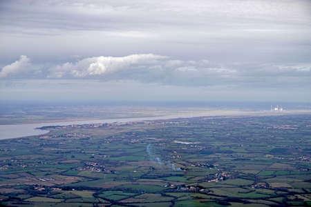 Arial Loire view, Atlantic Ocean and marsh Stock Photo
