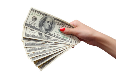 denominations: girl with red manicure takes money. denominations hundred dollars