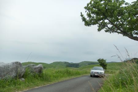 Car in the grassland kitakyusyu hiraodai in Fukuoka