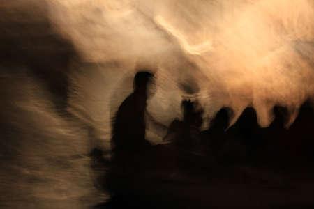 Fire River Styx en Charon-veerman van de zielen in de wereld van de doden. Griekse mythologie.