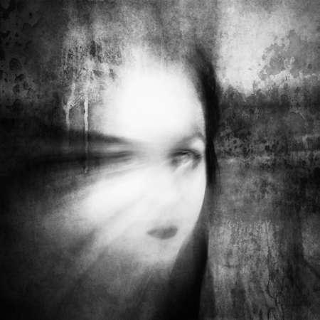Woman with big eye. Surreal portrait.