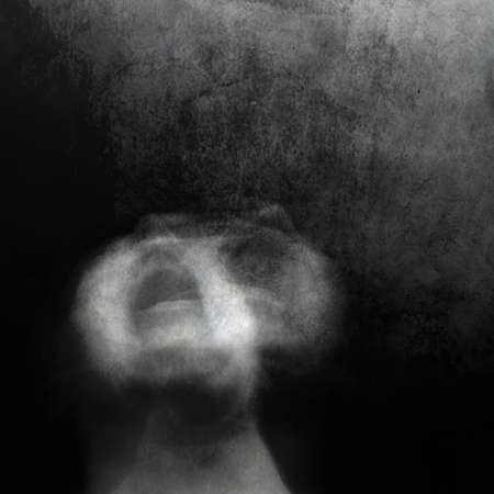 Scream of horror. Screaming woman face. Shot with long exposure. 写真素材