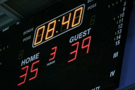 scoreboard: Basketball score table Stock Photo