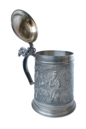 Antique German pewter beer stein with engraving Stock Photo