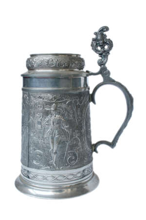 stein: Antique German pewter beer stein with engraving Stock Photo