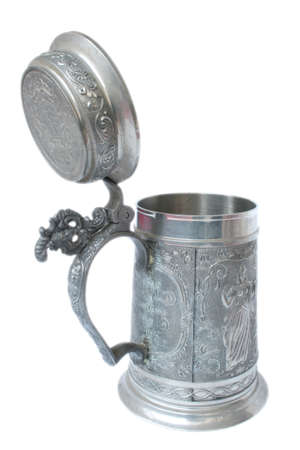 pewter mug: Antique German pewter beer stein with engraving Stock Photo