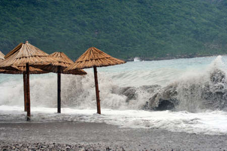 Big waves at the sea, storm is coming Stock Photo