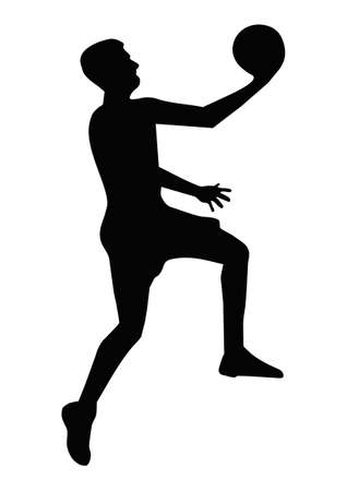 Basketball player silhouette isolated on white background Stock Photo