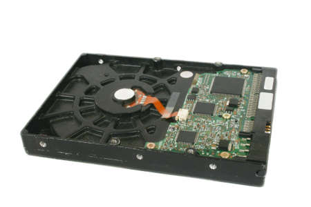 Used computer hard disc drive  at the white background Standard-Bild