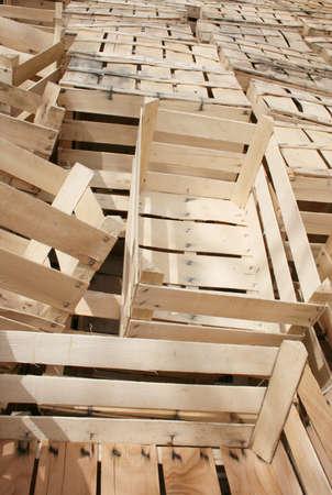 A lot of wooden crates for storage of fruit or vegetables Standard-Bild