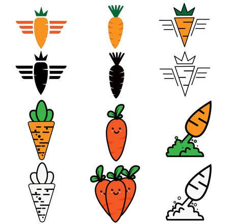 fresh carrot collection illustration logo