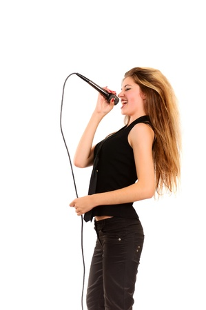 girl with microphone isolated on white background