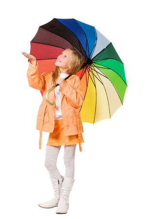 Girl with umbrella isolated on white background Stock Photo - 10816538