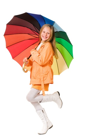 Girl with umbrella isolated on white background Stock Photo