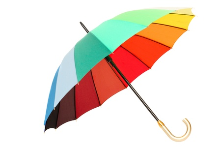 Rainbow umbrella on white background isolated