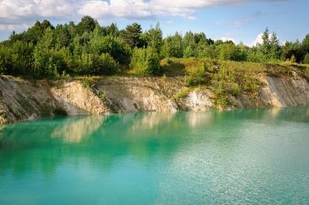 sand quarry: Old Chalk quarry landscape Stock Photo