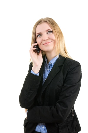 Business woman with a phone on white background isolated