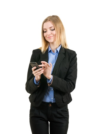 Business woman working with the phone on white background isolated photo