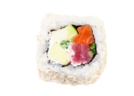 Sushi with avocado and fish on white background isolated