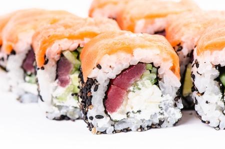 nigiri: Sushi set osaka maki on white background