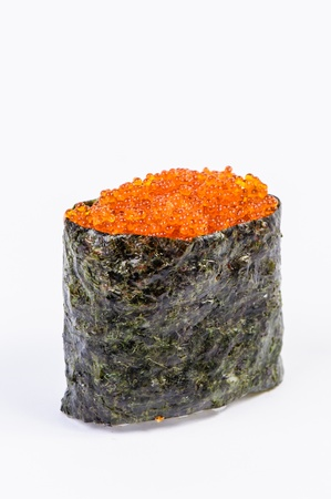 Tobiko Gunkan Sushi with Fish Roe on white background isolated
