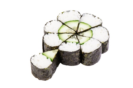 Sushi rolls with cucumber as chamomile on white background isolated