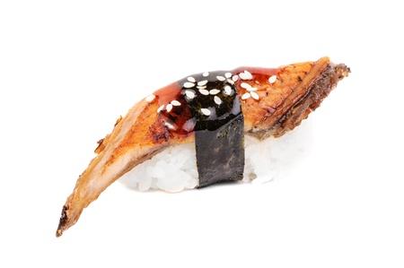 sashimi: Sushi nigiri with fried eel on white background isolated