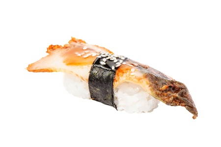 Sushi nigiri with fried eel on white background isolated