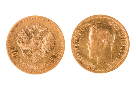 Old gold coin of Russia 19th photo