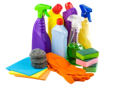 Antibacterial: Cleaning set on white background Stock Photo