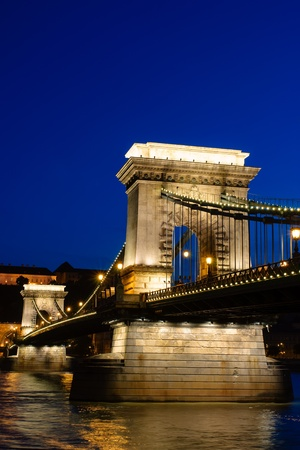 Night view of Chain bridge, Royal Palace and Danube river in Budapest photo