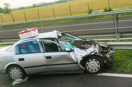 drunk driving: car crash accident on a European road