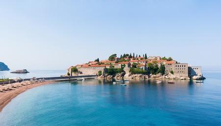 Sveti Stefan island panorama, Montenegro Editorial