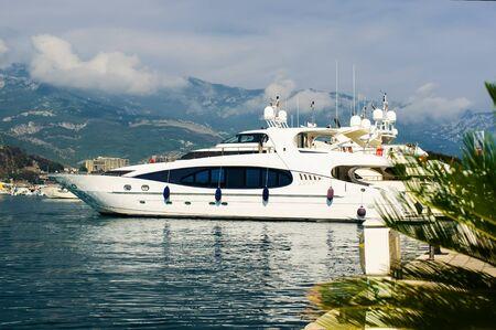 montenegro: Luxury yacht in port  Budva  Montenegro Stock Photo