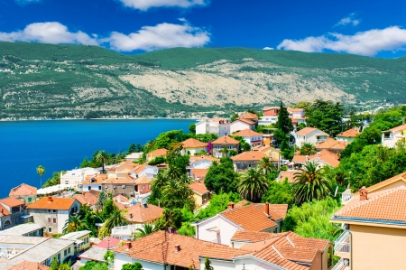Beautiful view of montenegro city Herceg Novi at the seashore Stock Photo