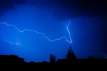 Lightning in the sky in the city