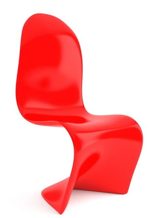 Modern furniture render. Red plastic chair on white background isolated.