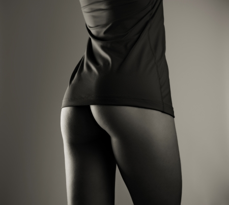 black women naked: Beautiful woman nude ass, black and white