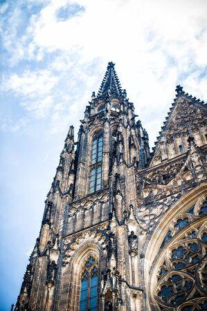 14th century: Saint Vitus Cathedral, part of the facade, Prague,14th Century