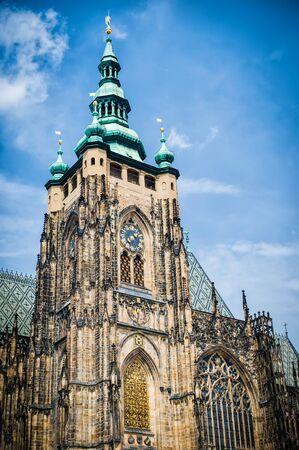 gargoyle: Saint Vitus Cathedral, facade, Prague, Czech Republic Stock Photo