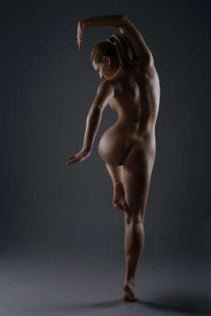 nude woman back: Naked female dancer posing in studio Stock Photo