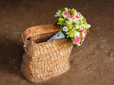 Beautiful bridal bouquet in basket
