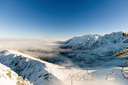 cableway: Beautiful view of the mountains and cableway on a sunny day. Kasprowy Wierch, Tatra Mountains, Poland Stock Photo