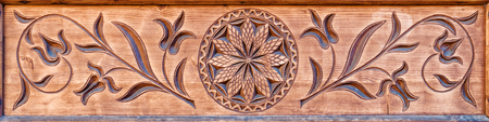 material flower: carved wooden pattern