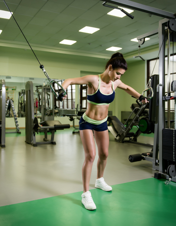 sports training: Young pretty woman pumping up muscles with training apparatus in fitness club Stock Photo
