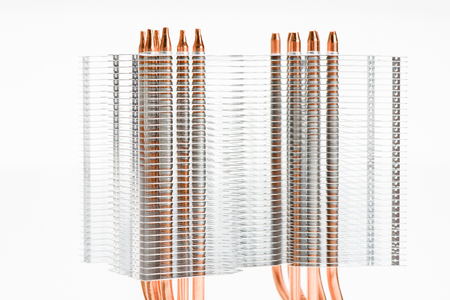 Heatpipes in modern cooler. Cooling concept on white background