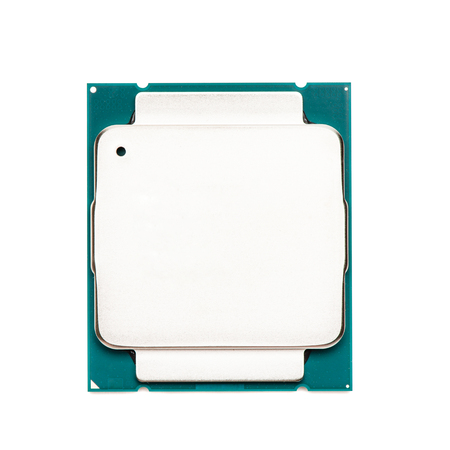 Computer processor CPU isolated on white background, top view