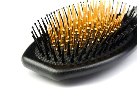 New modern hairbrush isolated on white background.